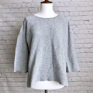LOFT Gray 3/4 Sleeve Top